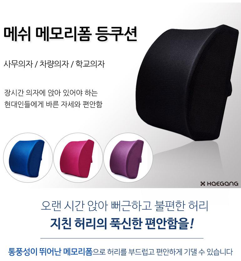 메쉬 메모리폼 허리쿠션 (4color) - 세일덕, 9,500원, 쿠션, 허리쿠션