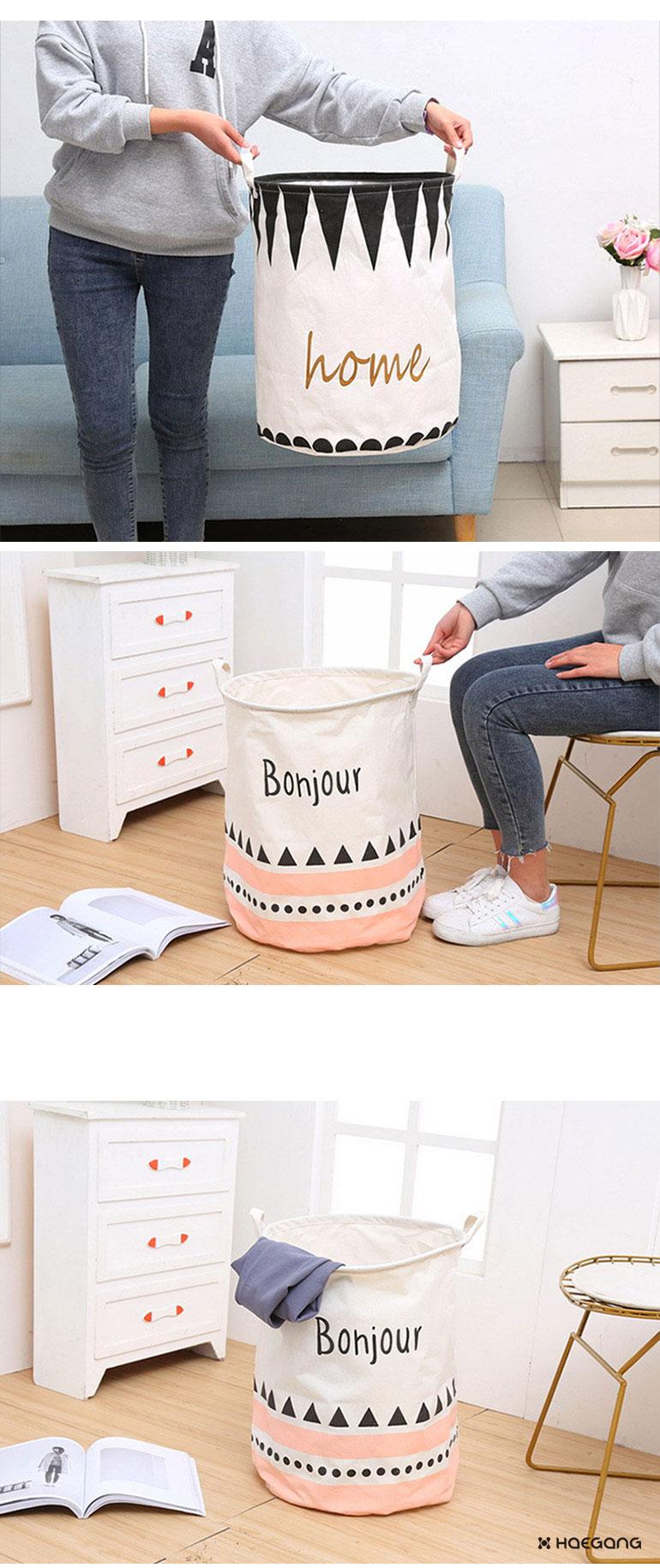 린넨 원형 빨래 바구니 - 세일덕, 7,500원, 세탁용품, 빨래바구니