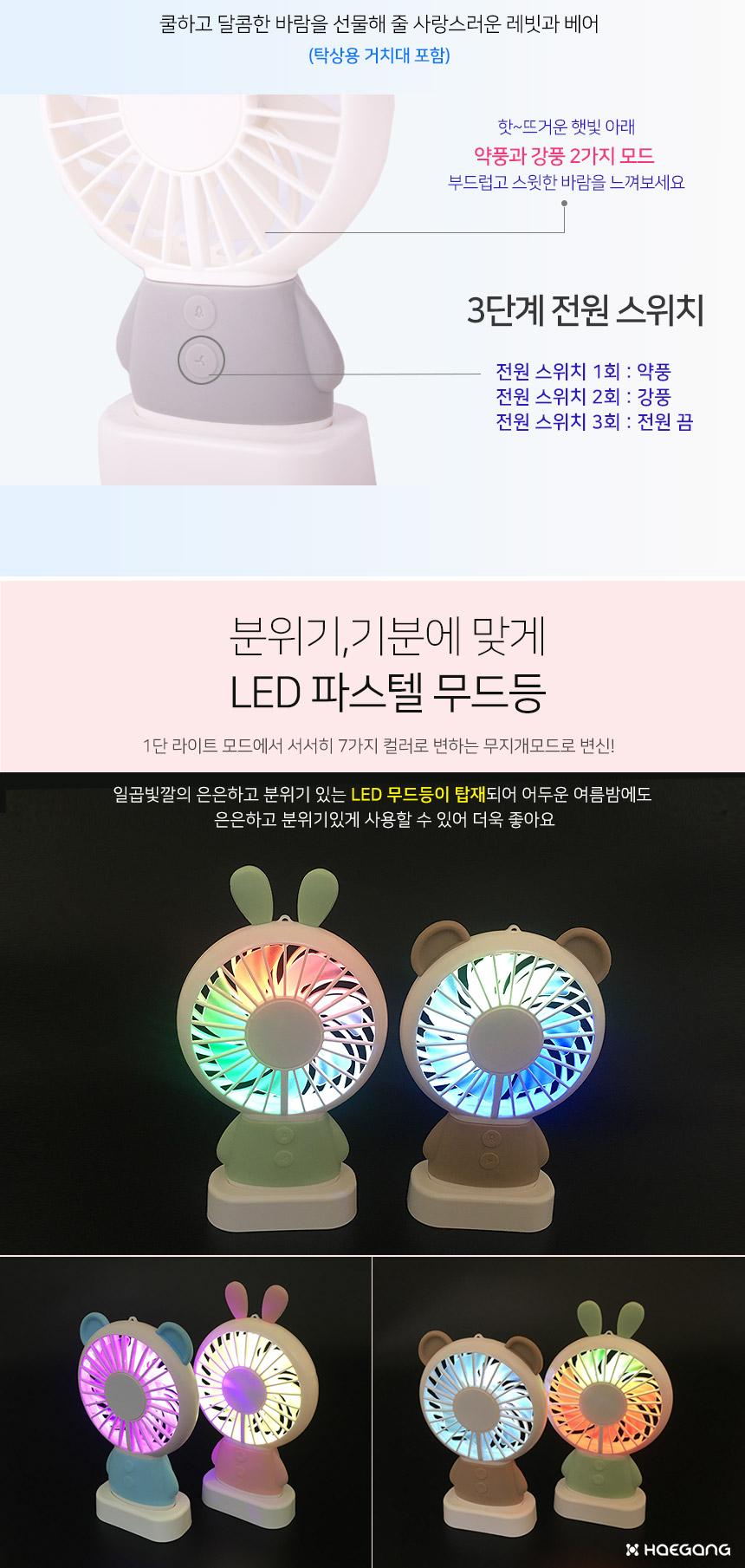 레빗 베어 휴대용 미니 LED 선풍기 - 세일덕, 7,800원, USB 계절가전, 선풍기